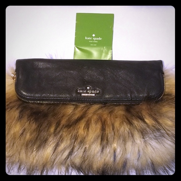 kate spade Handbags - Kate Spade Leather/Fur Clutch